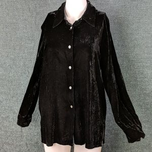 Beautiful Ann Taylor Black Velvet L.S. Blouse